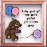 Teddy Bear and Balloons (Every Good Gift), Stained Glass Panel S-020a by Silver Creek