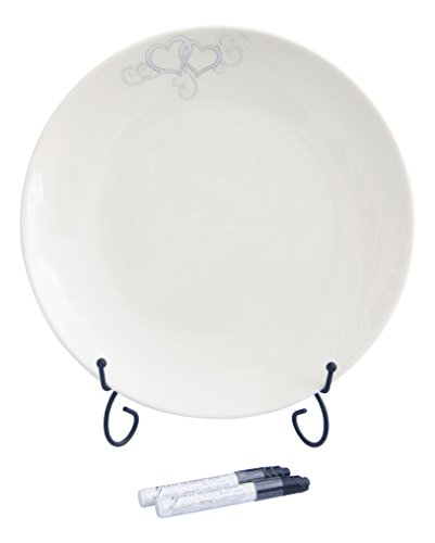 (Bundle of Round Silver and White Guest Signing Plate with 2 Pens and Black Easel Display Stand)
