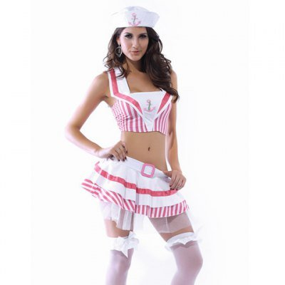 Women's Sexy Sailor Costumes With Cropped Collar Top + Mini Skirt + Sailor Hat Design