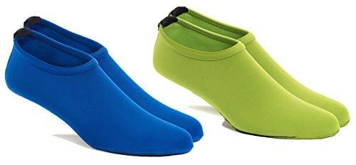 FUN TOES 2 Pairs Water Skin Shoes Aqua Socks for Water Sports Beach Pool Surf (XX-Large Women 10.5-11.5, Men 9.5-10.5, 1 Blue- 1 Green)