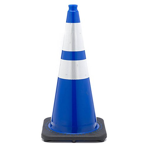 JBC Safety Plastic RS70032C-B3M64 Revolution Series 28'' Traffic Cone Wide Body with 6'' and 4'' Reflective Cone Collars, Blue Color by JBC Safety Plastic
