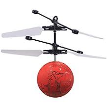 Kelvek Flying Ball, LED Heli Ball Flashing Helicopter Ball Built-in Shinning LED Lighting for Kids, Teenagers (Red)