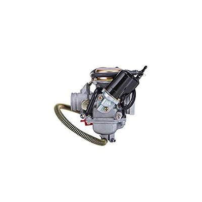Hity Motor PD24J Carburetor for 4- Stroke GY6 125cc 150cc 152QMI 157QMJ Engine Scooter ATV Go Kart Kazuma Baja Kymco Taotao SunL Tank with Fuel Filter Spark Plug Intake Manifold and Adjusting Shims: Automotive