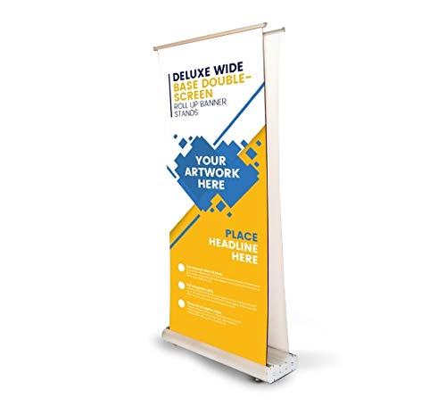 Deluxe Wide Base Double-Screen Roll Up Banner Stand, Tradeshow Display Retractable Aluminium Stand, Double Sided Promotional Sign Holder (Print with hardware, 2.5' X 6.5') (Rollup Deluxe Display Sign)