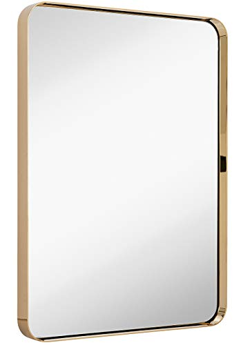 Hamilton Hills Contemporary Polished Metal Wall Mirror | Glass Panel Polished Gold -