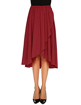 Zeagoo Women's High Waisted A line Street Skirt Skater Pleated Full Midi Skirt Long Length