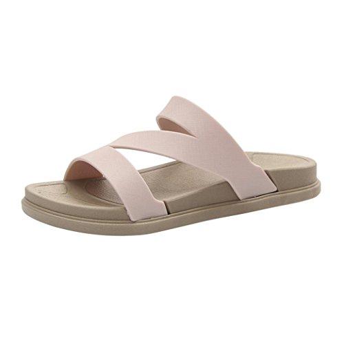Inkach Dames Platte Sandalen - Mode Dames Zomer Sandalen Badslippers Casual Strand Wedge Schoenen Beige