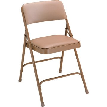 National Public Seating Folding Chairs - 1-1/4'' Thick Vinyl Seat - Double U-Brace - Beige Vinyl/Beige Frame - Beige Vinyl/Beige Frame - Lot of 4