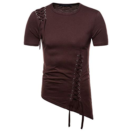 (Men Summer New Short Sleeve T-shirt with Irregular Design Knitting Braided Rope Blouse)
