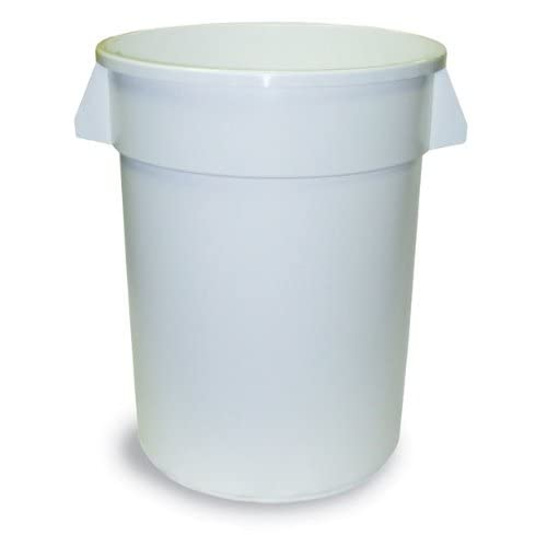 Continental 2000WH 20-Gallon Huskee LLDPE Waste Receptacle, Round, White