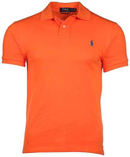 Polo Ralph Lauren Men's Slim Fit Pique Mesh Polo Shirt (Medium, College Orange)