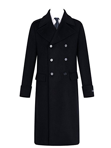 The Platinum Tailor Mens Black Overcoat Wool & Cashmere Great Coat Long Double Breasted Heavy Warm Winter Cromby (44)