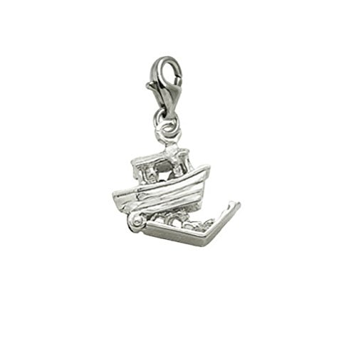 14k White Gold Noahs Ark Charm With Lobster Claw Clasp, Charms for Bracelets and Necklaces ()