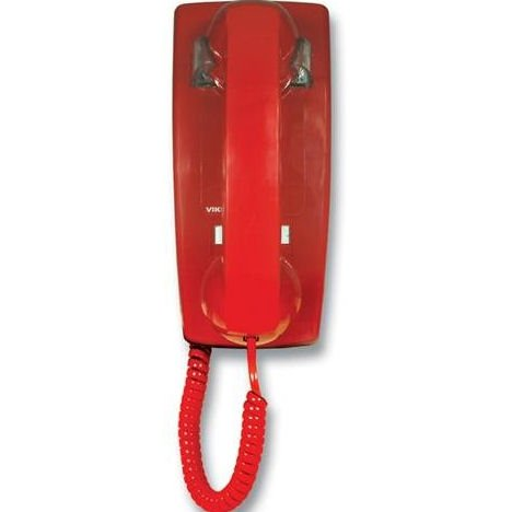 Viking Electronics K-1500P-W Red No Dial Wall Phone With Ringer