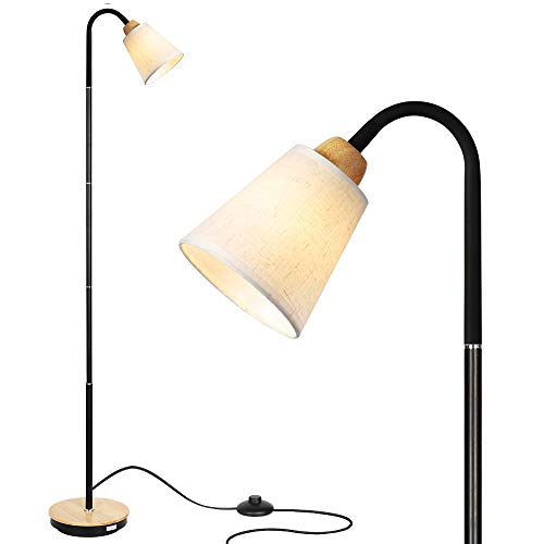 HAITRAL Adjustable Task Floor Lamp - Modern Standing Reading Lamp with 360° Adjustable Gooseneck, Reading Light Lamp for Bedroom, Office, Living Room White (Without Bulb)