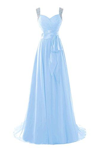 Chiffon Blu Rilievo Donna Abito Lungo Prom Sposa Dora Vestito Da In Cielo Cinghie q74gwX0