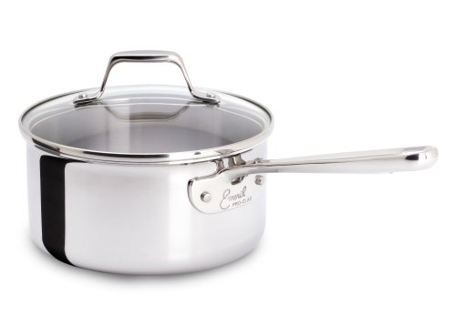 Emeril by All-Clad E9831864 PRO-CLAD Tri-Ply Stainless Steel Dishwasher Safe PFOA Free Sauce Pan Cookware, 3-Quart, Sliver