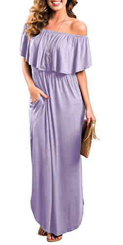 Womens Off The Shoulder Ruffle Party Dresses Side Split Beach Maxi Dress Lavender S