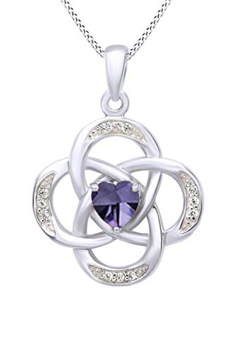 AFFY Celtic Knot Simulated Alexandrite Pendant Necklace in 14k White Gold Over Sterling Silver W/Chain 18