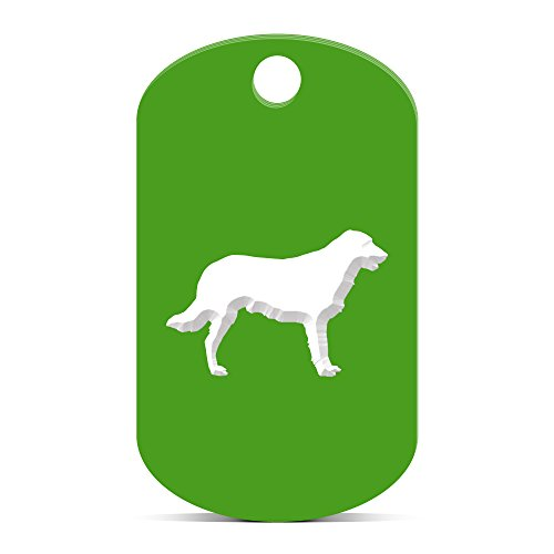 Flat Coated Retriever Keychain GI Dog Tag engraved canine pet Green ()