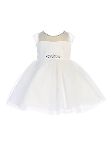 Tip Top Kids Baby Girls White Illusion Neck Beaded Lace Belted Flower Girl Dress 12M Beaded Belted Skirt