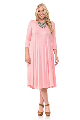 (Pastel by Vivienne Women's A-Line Trapeze Midi Dress Plus Size XX-Large Dusty Pink)