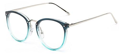 GigaMax TM Round Eyewear With Clear Lens Unisex Glasses Frame Retro Vintage Metal Eyeglasses Frame For Women Men's Goggles oculos de grau[ Blue ()