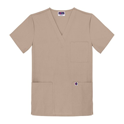 Sivvan Unisex Scrubs V-Neck 3 Pocket Top (Available in 12 Colors) - S8304 - Khaki - S