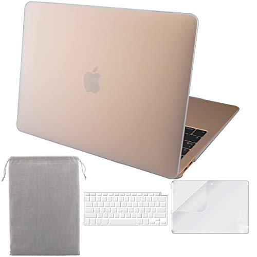 Sykiila for 2018/2019 New MacBook Air 13 Inch Case (Model A1932,with Touch ID & Retina Display) 4 in 1 Hard Cover + HD Screen Protector + TPU Keyboard Cover + Sleeve - Matte Clear