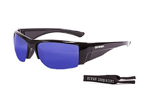 Ocean Sunglasses - Guadalupe - lunettes de soleil polarisées  - Monture : Noir Laqué - Verres : Revo Bleu (3501.1)
