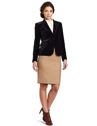 Vince Camuto Women's One Button Velvet Blazer, Rich Black, 2