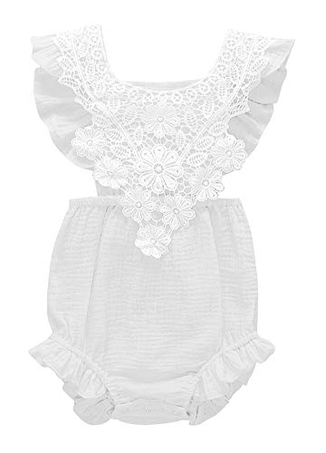 Infant Baby Girl Lace Ruffle Backless Romper Cotton One-Piece Bodysuit Outfits (White, 80/Fit 12M)