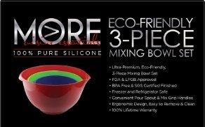 More Cuisine Essentials BG -2122A Eco-Friendly 3-Piece Mixing Bowl Set, Burgundy Wine/Tequilla Green/Marine Blue