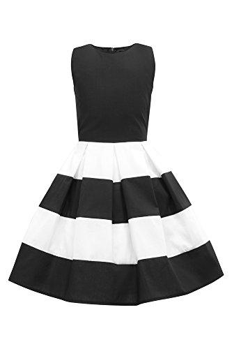 BlackButterfly Kids 'Lilly' Vintage Striped 50's Children's Girls Dress (Black, 9-10 yrs)