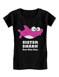 Sister Shark Doo Doo Gift for Big Sister Toddler/Kids Girls' Fitted T-Shirt