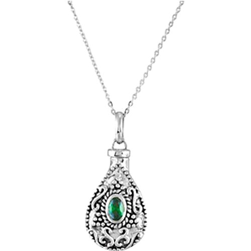 Green CZ Teardrop Ash Holder Necklace, Rhodium Plate Sterling Silver, 18'' by The Men's Jewelry Store (Unisex Jewelry)