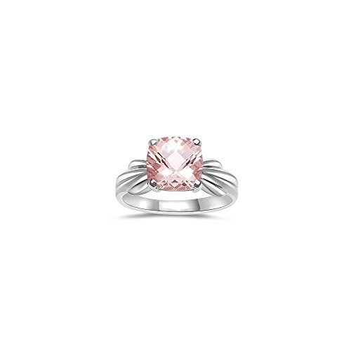 1.62 Cts of 8 mm AA Cushion Checker Board Morganite Solitaire Ring in 14K White Gold-5.0