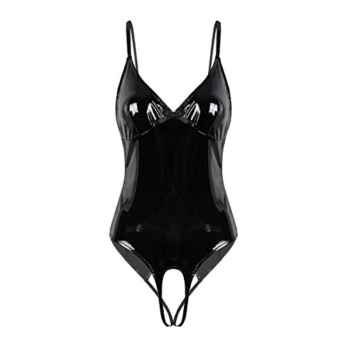 CHICTRY Lingerie for Women Faux Leather Teddy Bodysuit V Neck Hollow Out Chemise Nightwear Black Medium