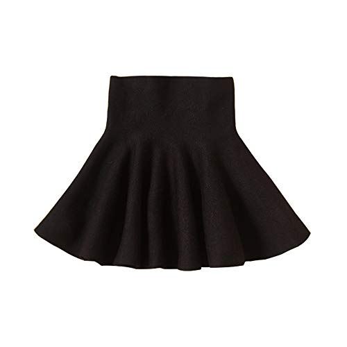Little Big Girls' High Waist Knitted Flared Pleated Skirt Casual Black Tag 170cm-66(13-14Y)