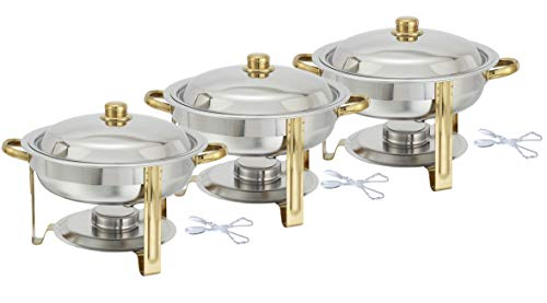 Tiger Chef 3-Pack 4 Quart Round Chafing Dish Buffet Warmer Set, Gold Accented Chafer, Includes Plastic -