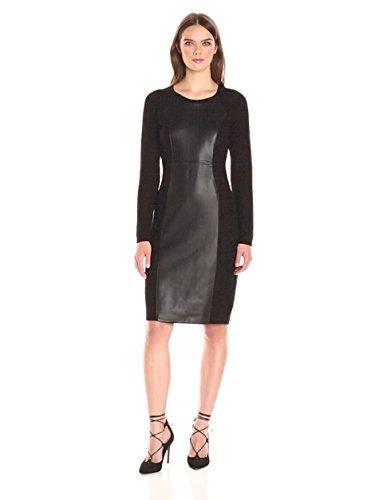 Calvin Klein Women's Long Sleeve Round Neck Sweater Dress with Pu Center Panel, Black/Black, L - Round Neck Sweater Dress