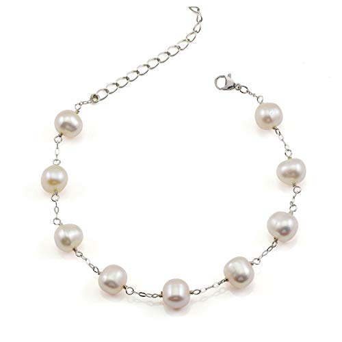 JFUME Women Gift Cultured Freshwater White Pearl Bracelet S925 Sterling Silver Bracelet Adjustable 7.6inch Plus Extention Chain