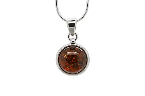 925 Sterling Silver Round Pendant Necklace with Genuine Natural Baltic Cognac Amber. Chain included