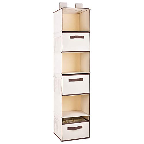 MaidMAX 6 Tiers Cloth Hanging Shelf with a Widen Strap, 3 Foldable Drawers, 6 Side Pockets and Divided Panels for Closet Organizer, Beige, 53 Inches High
