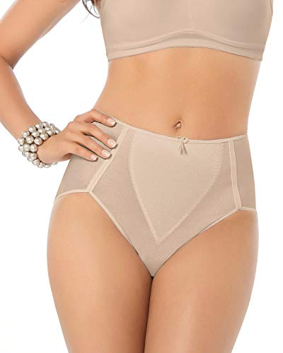 Leonisa Womens High Waist Firm Tummy Control Compression Panty,Beige,Small