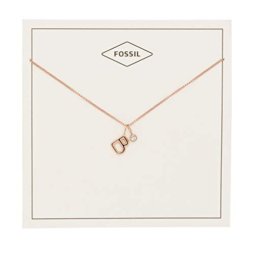 Pendant Rose Fossil (Fossil Women's Letter B Rose Gold-Tone Stainless Steel Necklace, One Size)