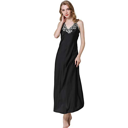 HiSexy Long Sleeveless Satin Nightdress Full Slip Nightgown Sexy Deep-V Neck Pajamas Seamless Sleepwear for Women Black 2XL
