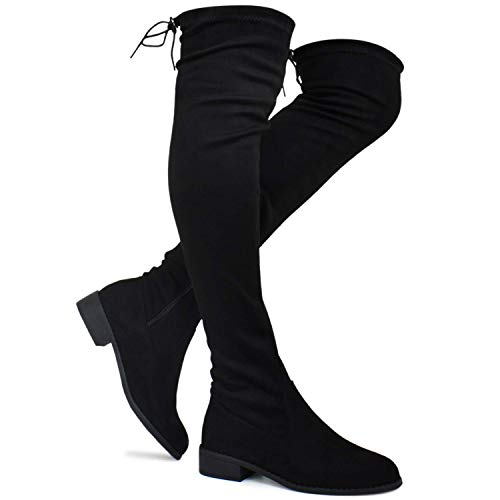 Premier Standard - Women's Fashion Comfy Vegan Suede Block Heel Side Zipper Back Lace Thigh High Over The Knee Boots