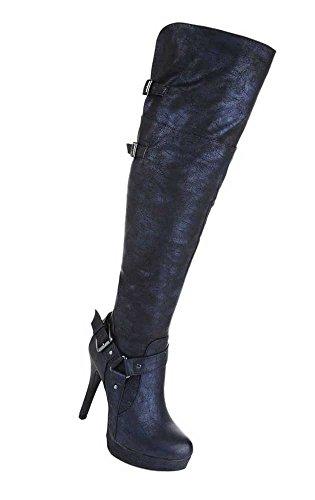 Damen Stiefel Schuhe High Heels Stiletto Overknee Schwarz Blau Braun 35 36 37 38 39 40 41 42 Dunkelblau