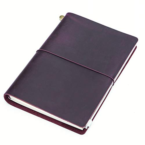 Collasaro A5 Travelers Notebook Refillable Genuine Leather Journal for Men Women, 8.5x6, Purple